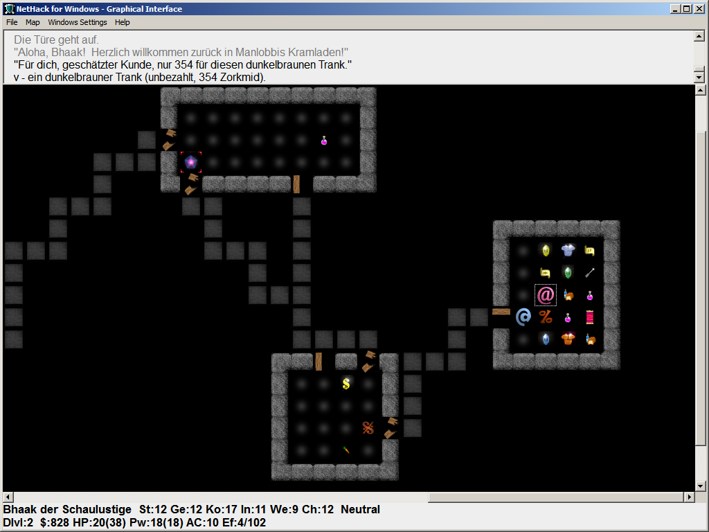 Screenshot Windows-GUI von NetHack-De