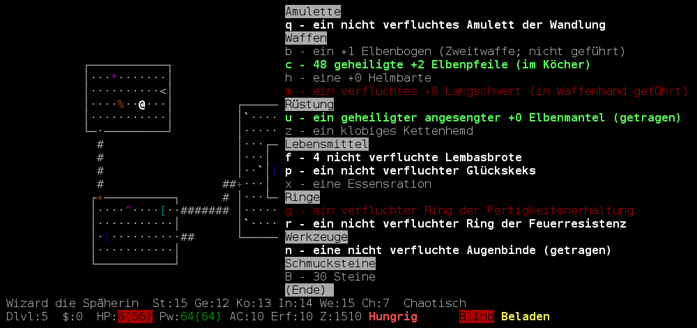 Screenshot NetHack-De Inventar